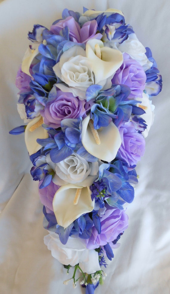 Lavender and  blue calla lilies,roses and hydrangea cascade bouquet 17 pieces teardrop style