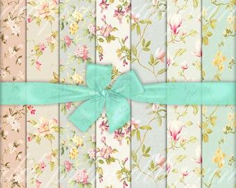 Floral Scrapbook Digital Paper. Vintage Floral Paper Download. Shabby Chic Download. Victorian Download. Floral Backgrounds  MG-42