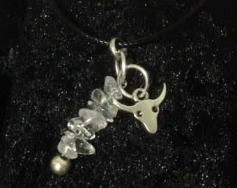 Ox and Clear Quartz Crystal Pendant