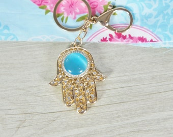 Fatima hand  tassel Rhinestone, Evil Eye, Khamsa key chain,  Key Chain Ring for Women Bag,  Purse Charm Pendant, women bag assories, Fatima