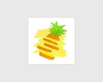 "Pineapple Illustration - 5x5"" 90's Inspired Art - Home Office - Healthy Silkscreen Wall Art - Handmade Screen Print - Small Gift For Her"
