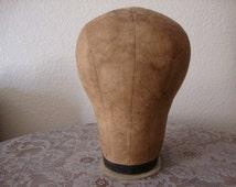 Vintage Shabby Boudoir Tea Stain Tan CANVAS HAT FORM, Display Head Mold, Store Wig Display,Mid Century Prop Mod Nouveau Pop Art Statue