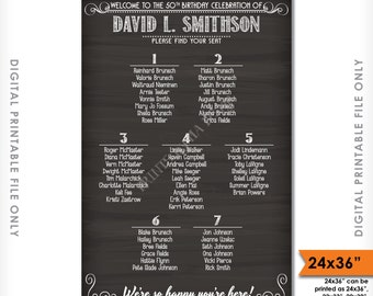 Seating Chart Poster, Birthday Seating Chart Sign, Custom Chalkboard Seating Plan Sign, Find Your Seat, Digital Printable File