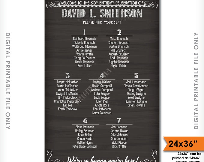 "Seating Chart Sign, Birthday Seating Chart Poster, Custom Seating Plan, Find Your Seat, Birthday Chalkboard Style PRINTABLE 24x36"" Sign"