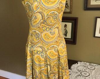 1960's Paisley Print Dress