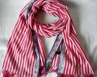 ALLEA Scarf,  Stripes Scarf, Cotton and Silk,  Pink and White,  Long Scarf,  Vintage Scarf