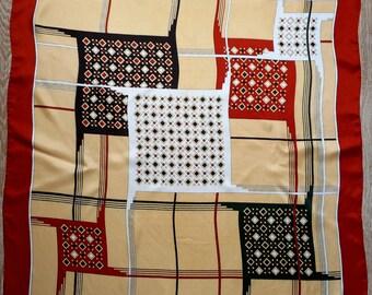 Vintage PIERRE CHARRIES Silk Scarf,  Geometric Design, Square Scarf