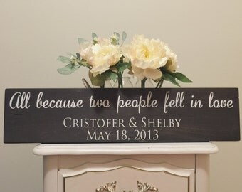 Wooden Sign- All Because Two People Fell In Love - Anniversary Sign - Wedding Anniversary - Wedding Sign