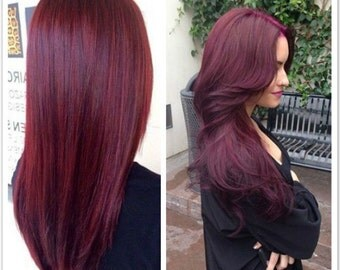 Straight Curly Thick Full Head Clip in Hair Extensions Synthetic  8pcs Set (Col. Plum Red)