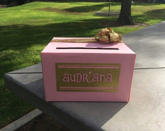 Pink and Gold Card Box for Birthdays, Baby Showers, and Parties