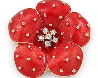 Stunning poppy brooch broach pin Remembrance Royal British Legion 25% donation flower red