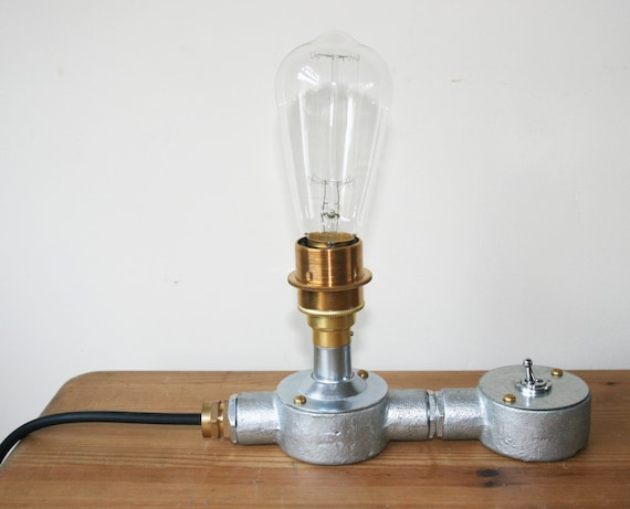 industrial conduit steel brass lamp holder table lamp light With table lamp electrical fittings