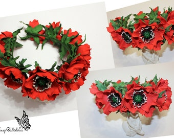 Flower crown, сrown with poppies, red poppies flowers, сrown with red poppies, hair band with red poppies, hair ornament