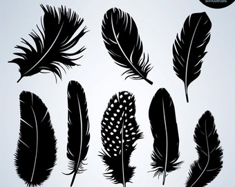 50% Off Sale - Feather Silhouettes, Feather Digital Silhouettes, Digital Feather, Feather Digital Clipart, Feather Vector, INSTANT DOWNLOAD
