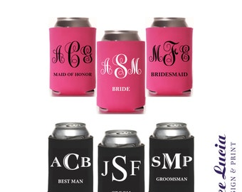 Monogram Can Coolers for Bridal Party! Gifts for Maid of Honor, Bridesmaids, Best Man, Groomsmen!
