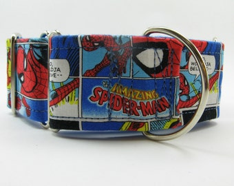 Spiderman Martingale, Spiderman Greyhound Collar, Flannel Lined Martingale, Whippet Collar, Italian Greyhound Collar, Flannel Lined Collar
