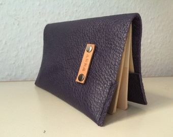Personalised Dark Purple Leather Passport Cover