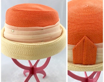 Vintage Cloche Hat Orange + Ivory Strong LADY ANN