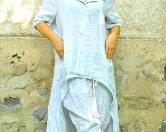 Light blue tunic/Maxi tunic/Woman linen tunic/Blue shirt/Linen top/Loose linen shirt/Woman linen tunic/Washed/Plus size linen shirt/T1497