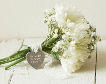 Personalised Bridal Bouquet Charm, Plain Font ~ Engraved Wedding, Anniversary Gift