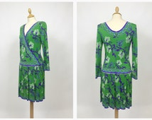 EMILIO PUCCI authentic vintage 70s green jersey silk dress - size S/M