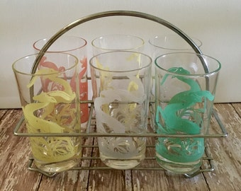 Vintage Drinking Glasses, Leaping Gazelle Glasses in Carrier, 1950's Federal Glass Gazelle Glasses with  Metal Carrier
