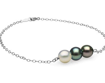 """Black and White Freshwater Pearl Mixed """"Barre"""" Bracelet, 7.0-8.0mm"""