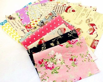 Vintage Flower Bundle Fabric Flower Plaid Square Cotton Fabric Sets for 10 each 20X20cm for Quilting Cloth Bag bf16