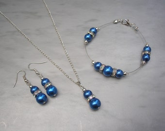 Helena ~ Royal Blue Pearl and AB Rhinestone Diamante Necklace Bracelet and Earrings Jewelry Set, Silver or Gold Plated