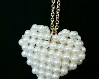 Pearl  heart gold chain necklace