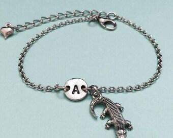 Alligator charm bracelet, alligator charm, animal charm, adjustable bracelet, personalized bracelet, initial bracelet, monogram, crocodile