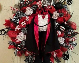 Dracula Wreath, Halloween Wreath,Vampire Wreath, Deco Mesh Wreath, Fall wreath, Halloween Decor, Drac Is Back, Dracula Decor, Halloween