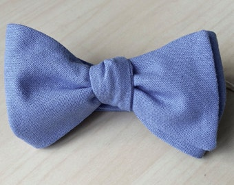 Cerulean Linen Bow Tie