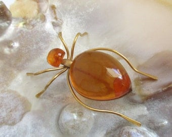 Vintage Russian Baltic Amber Gold Plated Spider Brooch