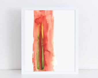 Abstract Red Watercolor Paint Art Print, Modern Minimalist Wall Decor