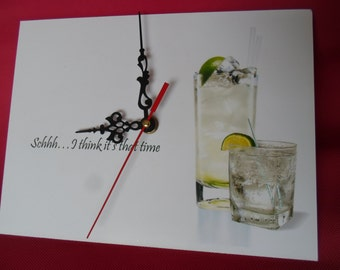 Wall clock ( schhh...i think it's that time ) picture of 2 gin and tonics