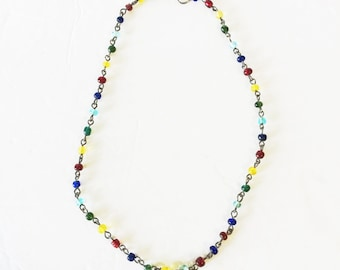 Vintage Multi-Colored Glass Beaded Necklace
