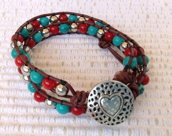 Desert Sea! Turquoise & Red Coral w silver spacers double HippieWrap bracelet