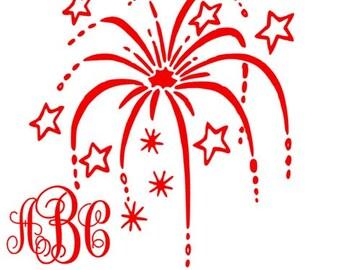 On Sale Firework Monogram Decal, Firework Decal, 4th Of July, July 4, monogram Decal, Custom Decal, Personalized, Monogram Firework Decal,