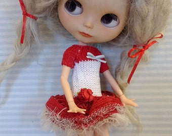 Red and white dress with bow and flower Blythe
