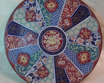 A highly decorated ceramic plate with wall mount