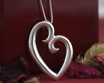 Silver Modern Heart Necklace, Sterling Silver Heart Necklace, Love Necklace, Sterling Silver Mom Heart Necklace, Silver Open Heart Necklace