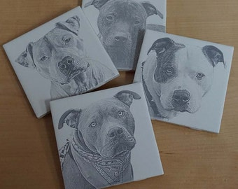 Ceramic Dog Coasters ~ Ceramic Coaster Set ~ Dog Lover ~ Laser Engraved ~ Pitbull Lover Coaster Set ~ Dog Breed Coasters