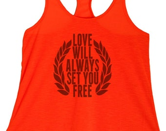 Women's PLUS Love Will Always Set You Free Print Graphic with a Laurel wreath Tank Top  - 1XL ~ 3XL  (pl-054-tp)