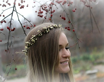 vine and white berry floral/flower crown/headband adjustable one size fits all