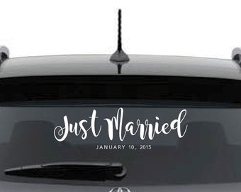 Customized Just Married Sign - (Car) Window Decal - w/ or w/o hearts
