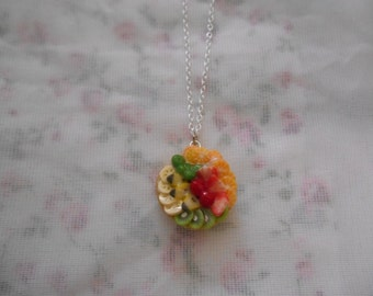 Fruit pie. Fruit tart necklace.