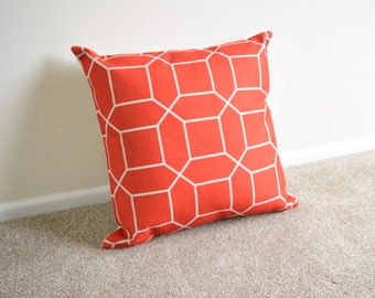 Bright Red Nordic/Geometric/Scandi Print Cotton Linen Cushion/Pillow Cover in 18 x 18""