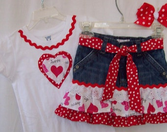 Custom boutique girls Valentine jeans skirt & shirt set