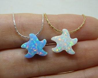 Starfish necklace, Starfish jewelry, Beach wedding, Beach necklace, Sea star necklace, Opal starfish, Starfish pendant, Bridesmaid necklace